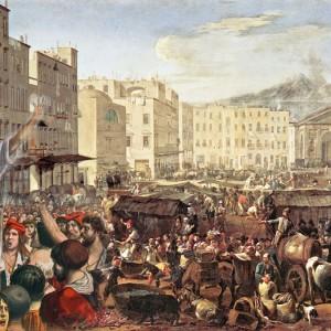 Tommaso Aniello (Masaniello) arringa il popolo napoletano in una stampa allegorica
