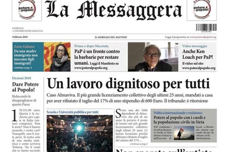 Potere al Popolo: a Roma La Messaggera. A Genova con i cronisti precari